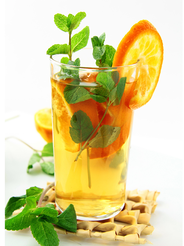 Picture Orange fruit mint Highball glass Food White background drink  for Mobile phone Mentha Drinks