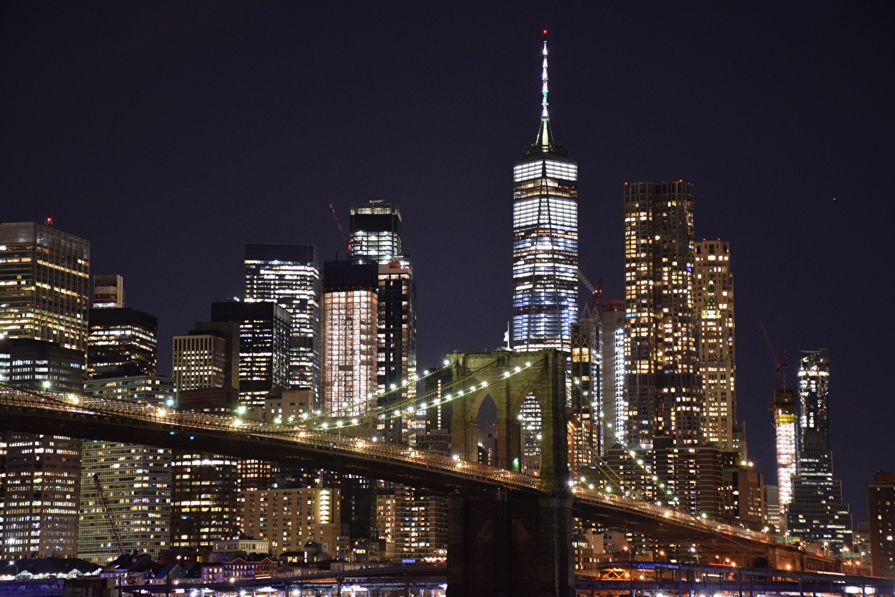 Images Manhattan New York City USA Megapolis Night Skyscrapers Cities megalopolis night time
