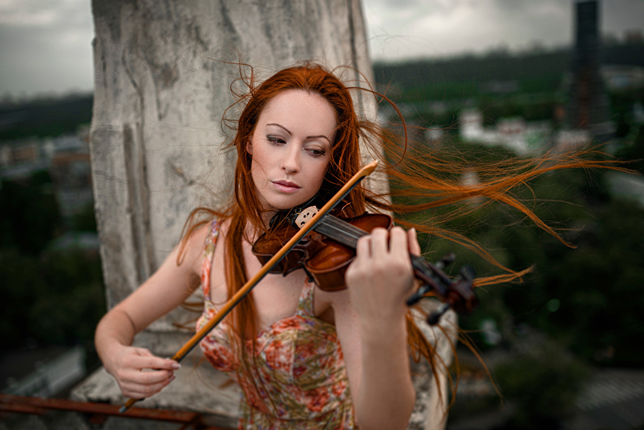 Desktop Wallpapers Violin Redhead Girl Hair Female