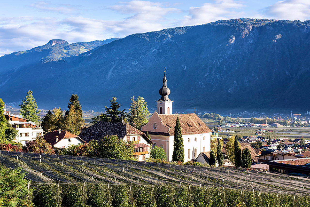 Picture Church Alps Italy Nalles Nature mountain Building Mountains Houses
