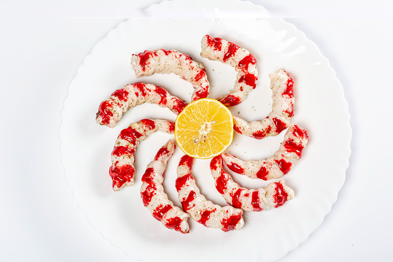 Desktop Wallpapers Shrimp Lemons Food Plate Seafoods Caridea