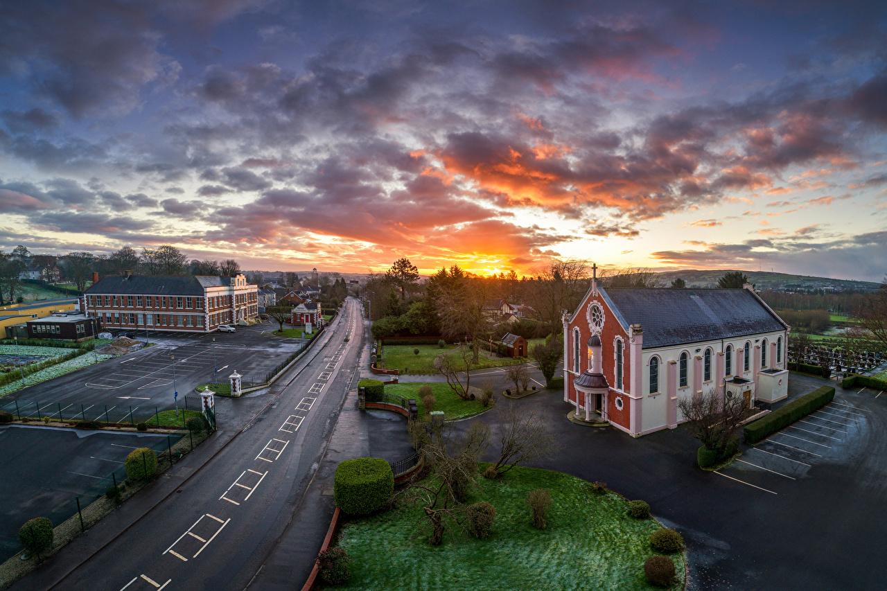 Image Church United Kingdom Strabane, Northern Ireland Sky Roads sunrise and sunset Evening Clouds Cities Sunrises and sunsets