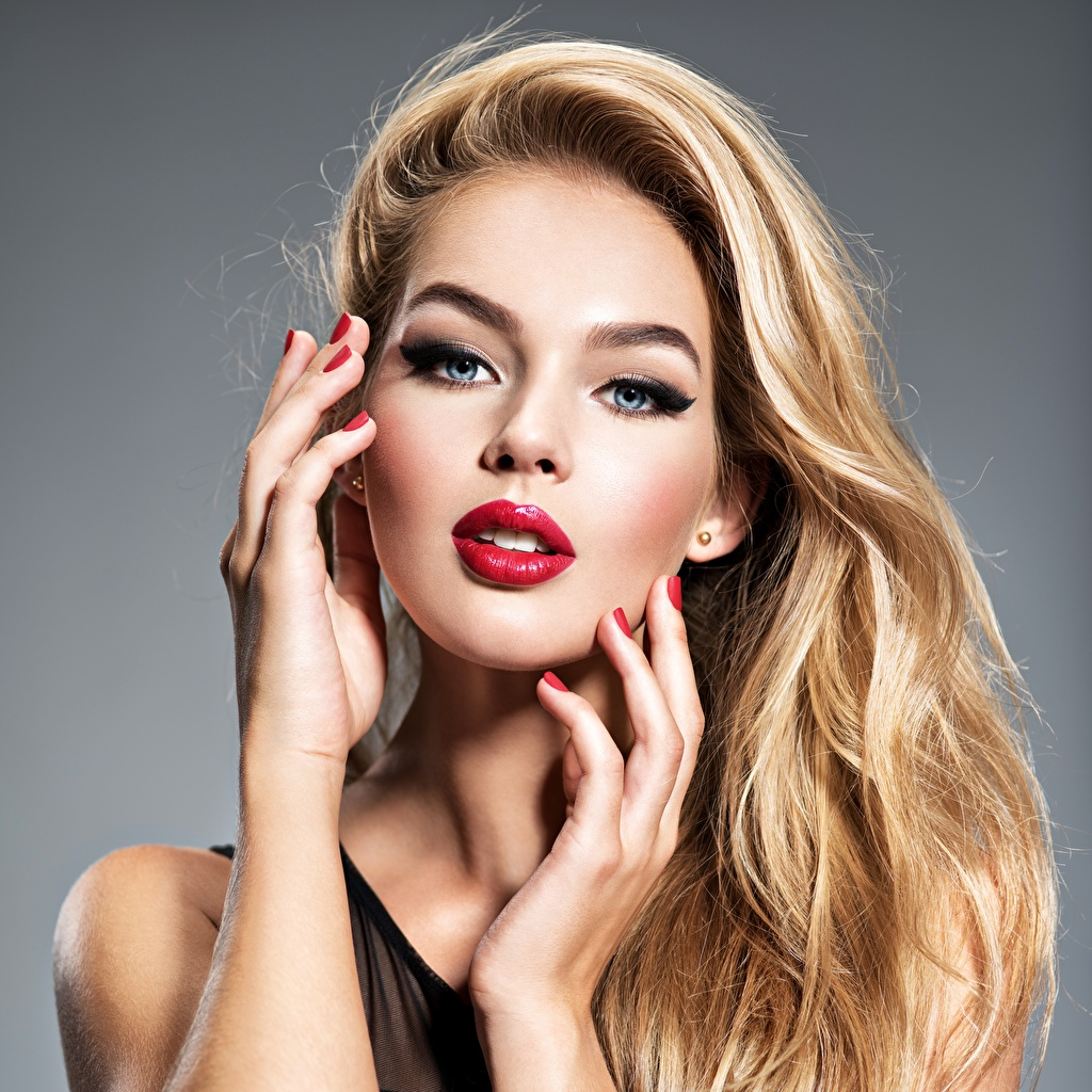 Photo Blonde girl Makeup Beautiful Face Hair Girls Hands Glance Red lips Staring