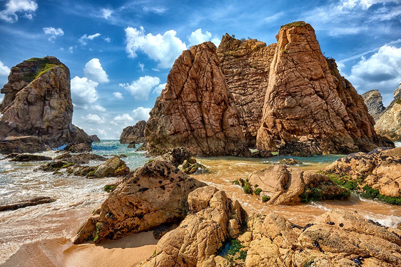 Tapeta Portugalia Sintra skała przyroda Wybrzeże Turnia Natura skałki