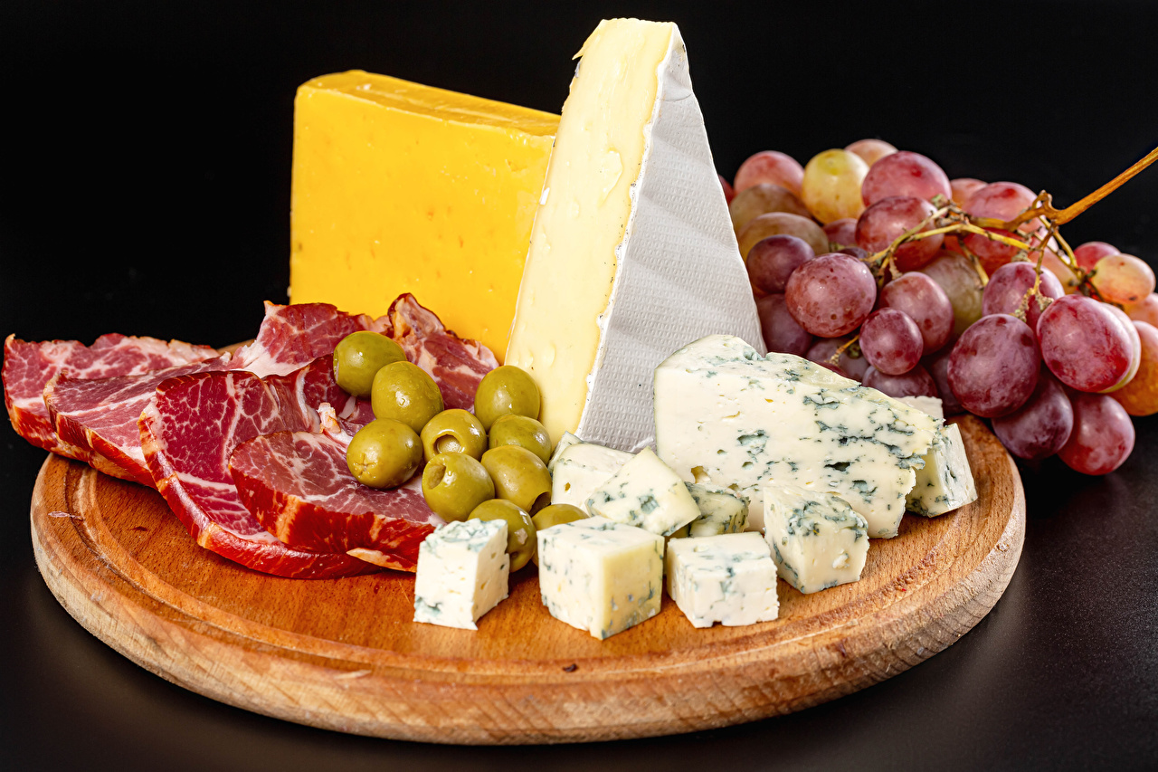 Image Olive Ham Cheese Grapes Food Cutting board