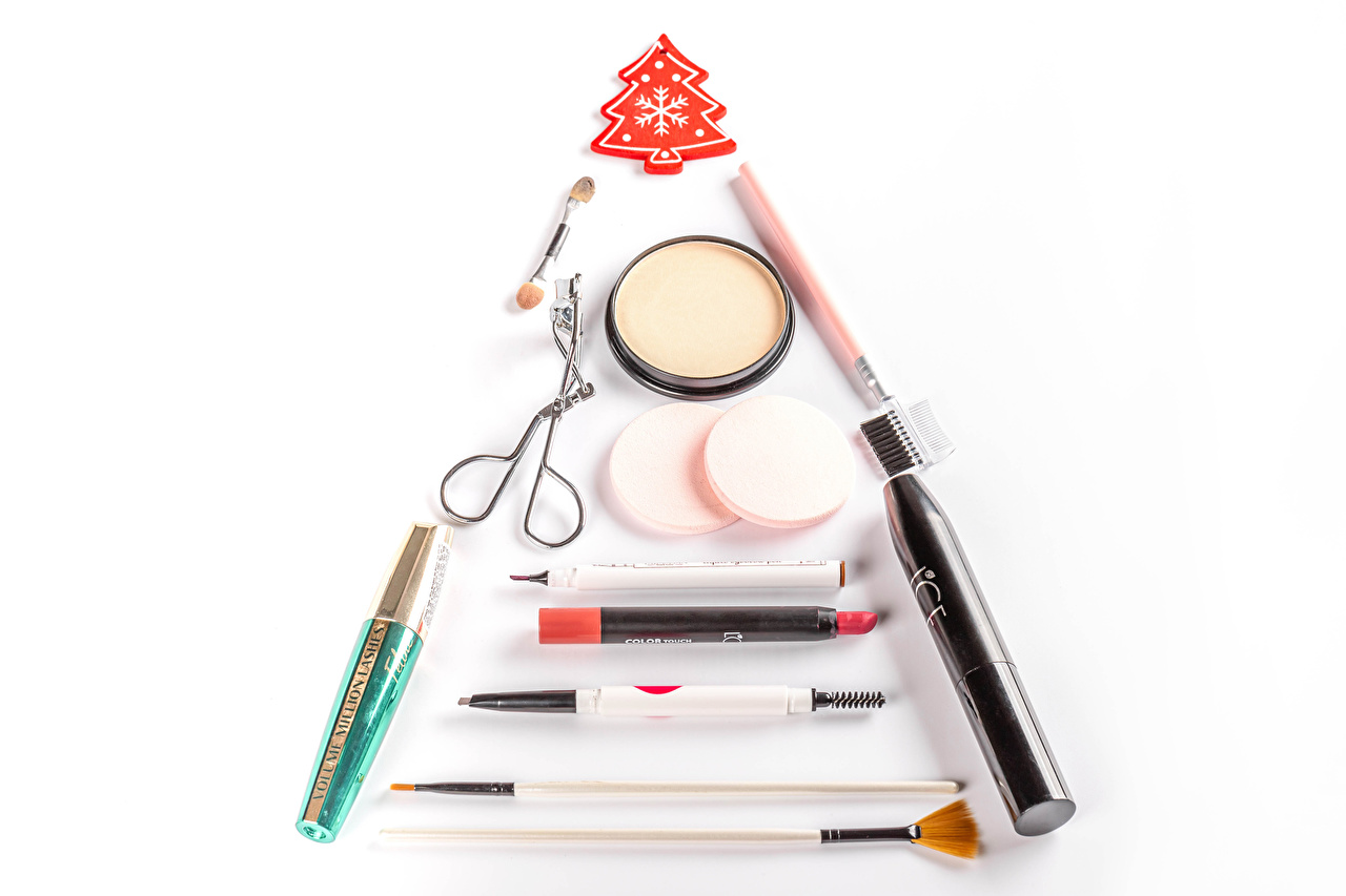 Pictures Christmas Lipstick Cosmetics New Year tree White background New year Christmas tree