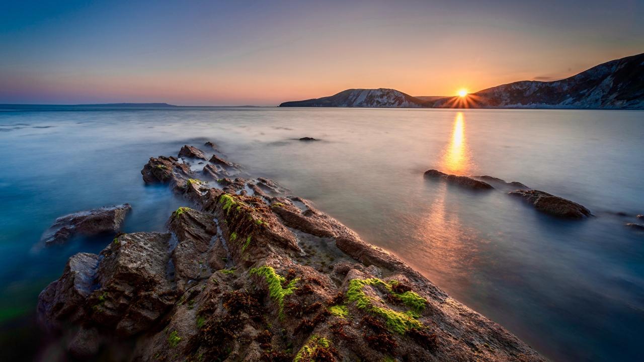 Foto England Dorset Natur Sonnenaufgänge und Sonnenuntergänge Küste Morgendämmerung und Sonnenuntergang