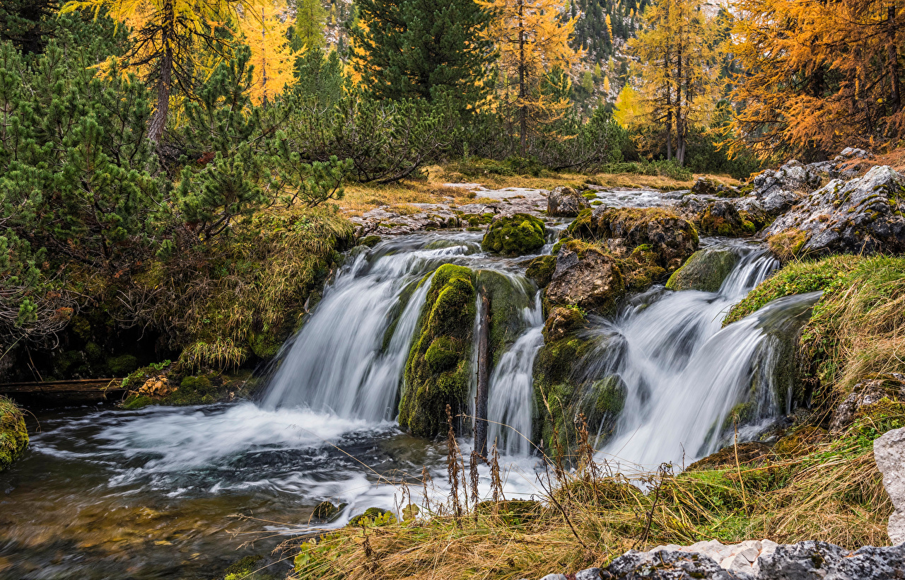 Wallpaper Alps Italy Dolomites Nature Autumn Waterfalls forest river stone Trees Forests Rivers Stones