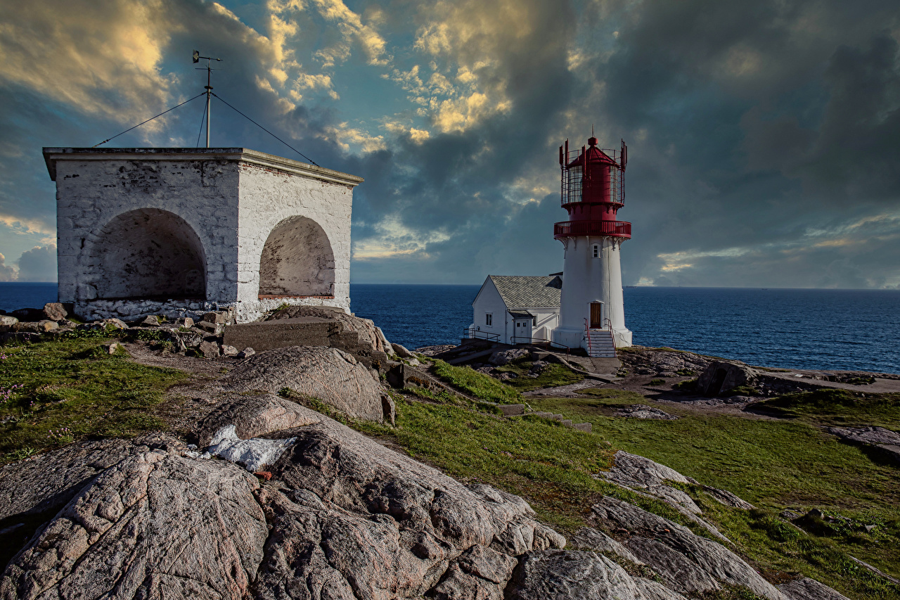 Photos Norway Vest-Agder Nature Lighthouses Coast Clouds