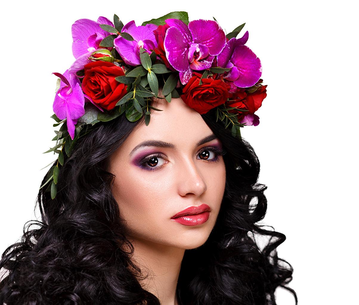 Fonds D Ecran Roses Cheveux Noirs Fille Visage Cheveux Voir Fond