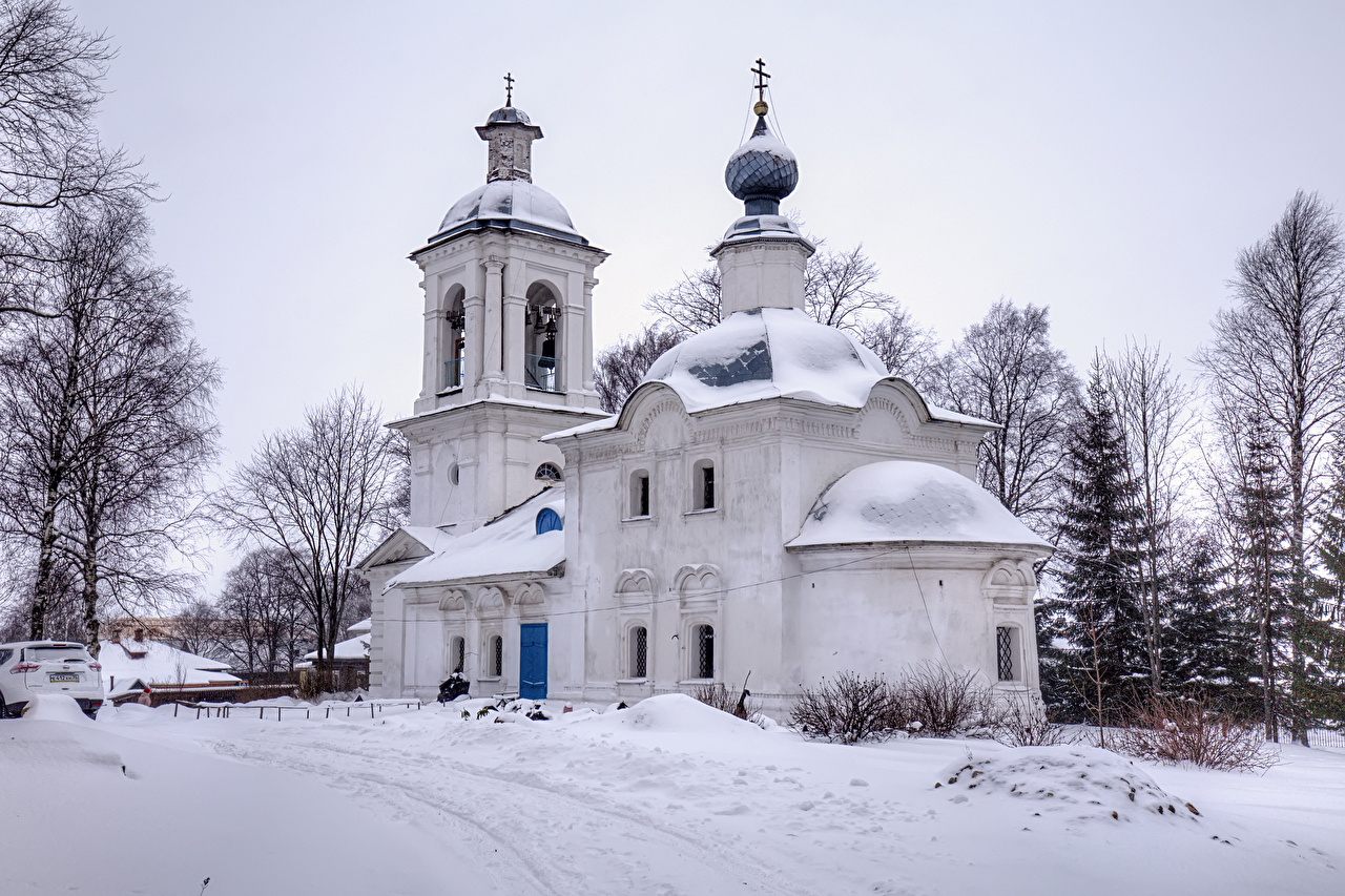 Image Church Russia Belozersk Vologda Oblast Winter Snow Temples Cities