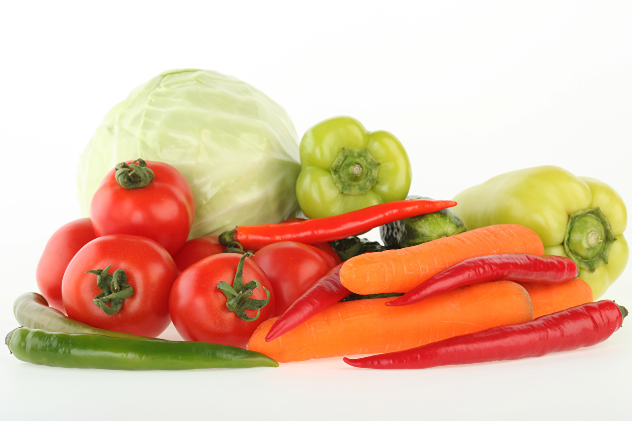 Photos Carrots Cabbage Tomatoes Chili pepper Food Vegetables Bell pepper White background