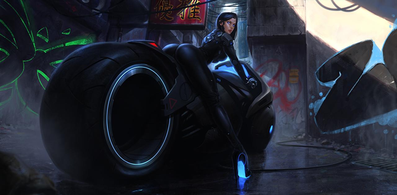 壁紙 Cyberbike モーターサイクリスト サイバーパンク ファンタジー オートバイ 少女 ダウンロード 写真