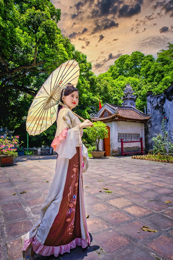 Wallpaper Brunette girl posing HDRI female Asian parasol Dress  for Mobile phone Pose HDR Girls young woman Asiatic Umbrella gown frock