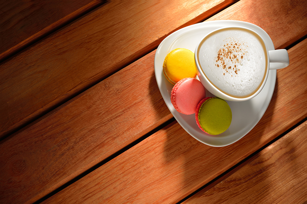 Pictures Macaron Coffee Cappuccino Cup Food Wood planks Boards