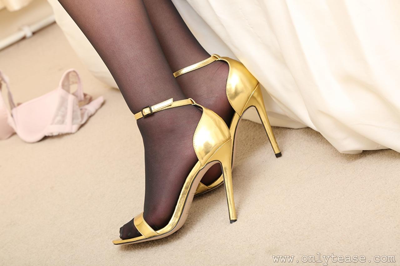 Foto Strumpfhose Mädchens Bein Großansicht Stöckelschuh junge frau junge Frauen hautnah Nahaufnahme High Heels