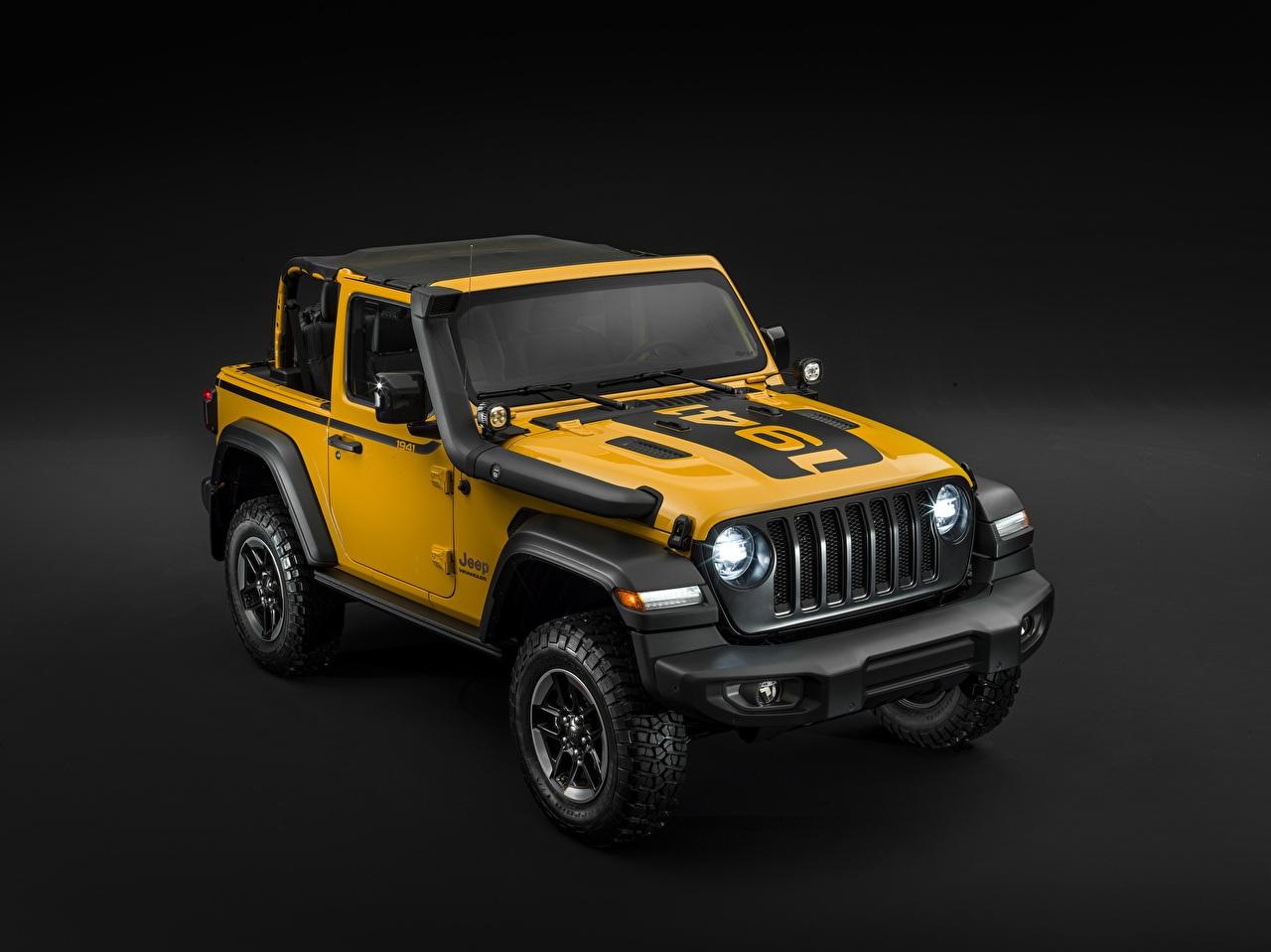 Pictures Jeep Tuning 2019 Wrangler Rubicon 1941 by Mopar Yellow automobile Gray background Cars auto