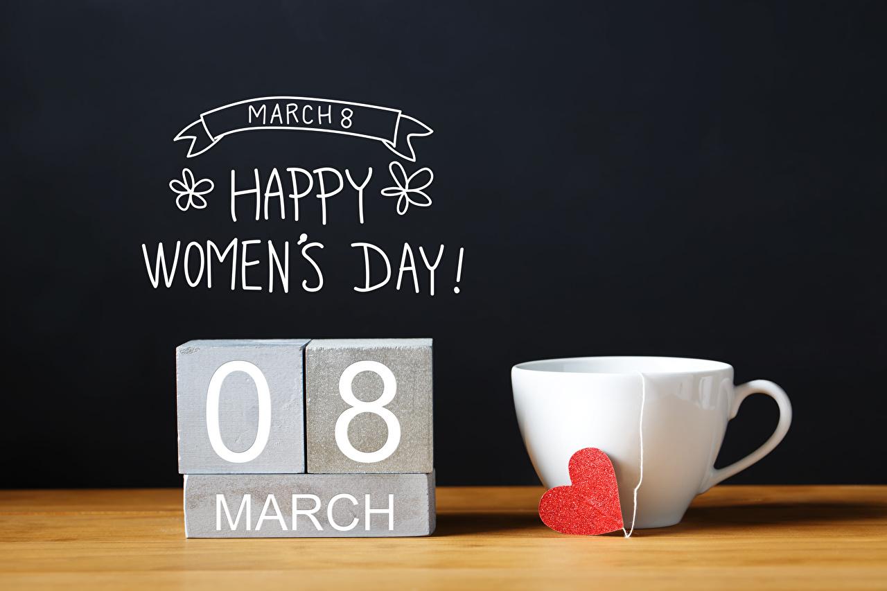 Bilder von 8 März Englisch Herz Tasse Lebensmittel Schwarzer Hintergrund Internationaler Frauentag