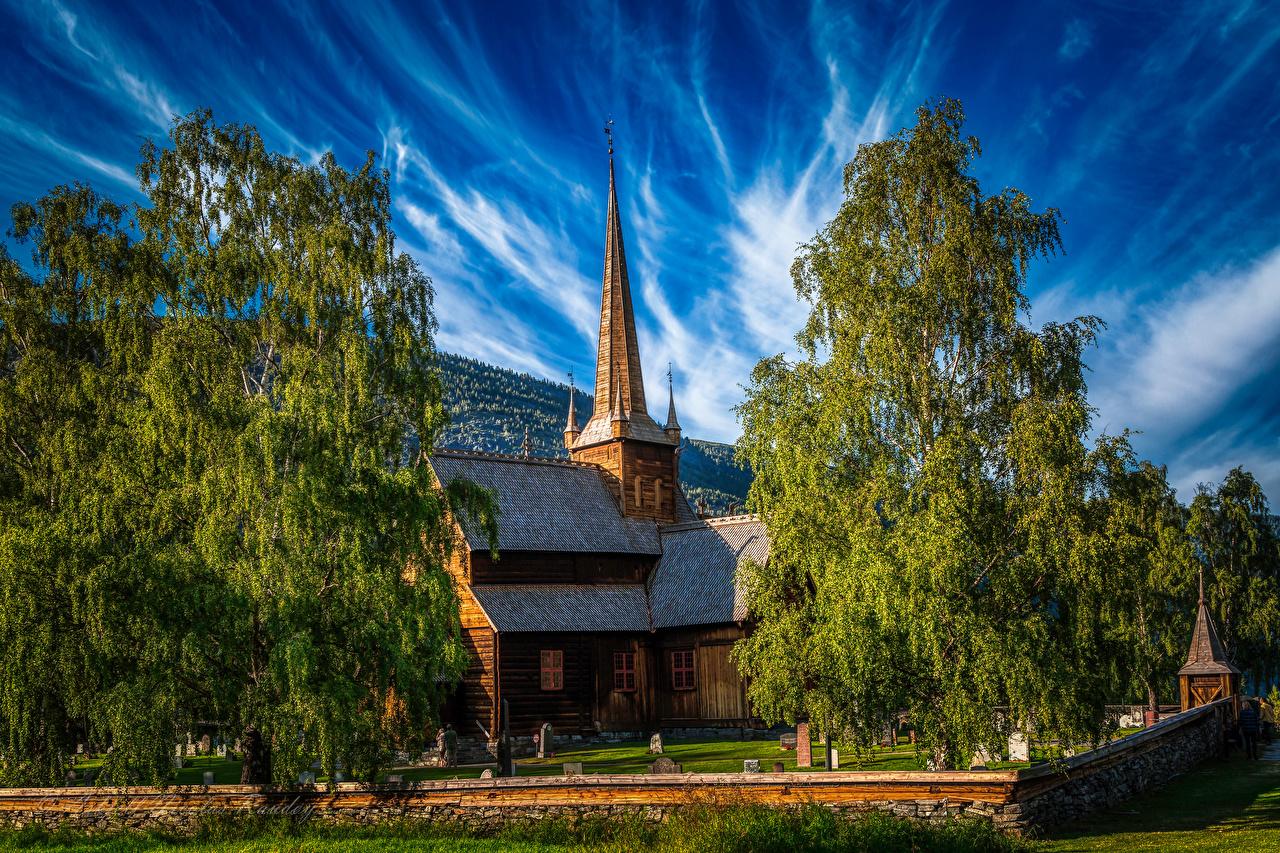 Обои для рабочего стола Церковь Норвегия Lom дерево Города город дерева Деревья деревьев