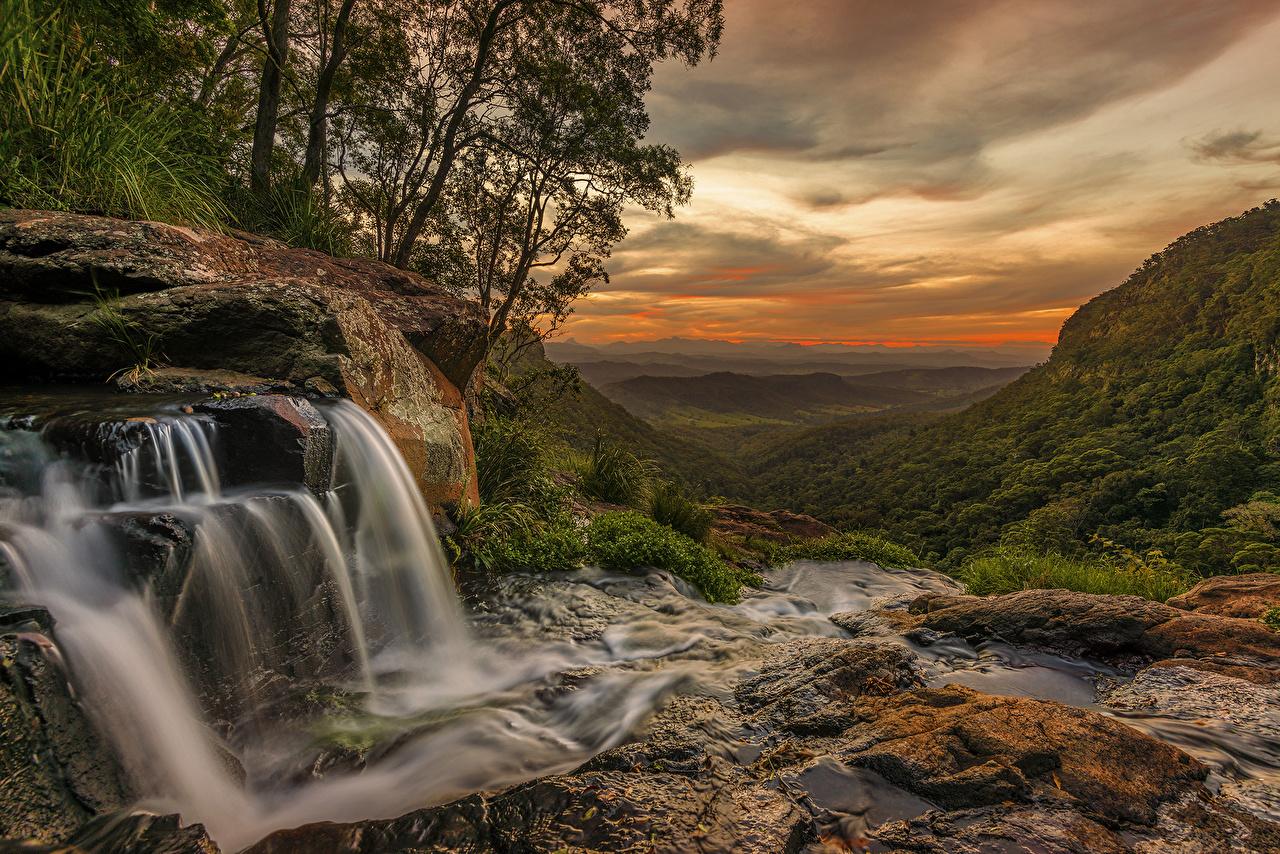Desktop Wallpapers Australia Queensland Nature Waterfalls Stones