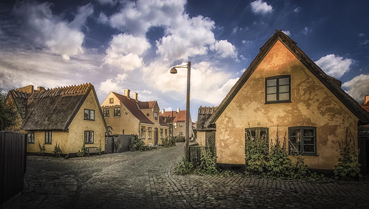 Images Denmark Dragor Street Street lights Cities Building Houses