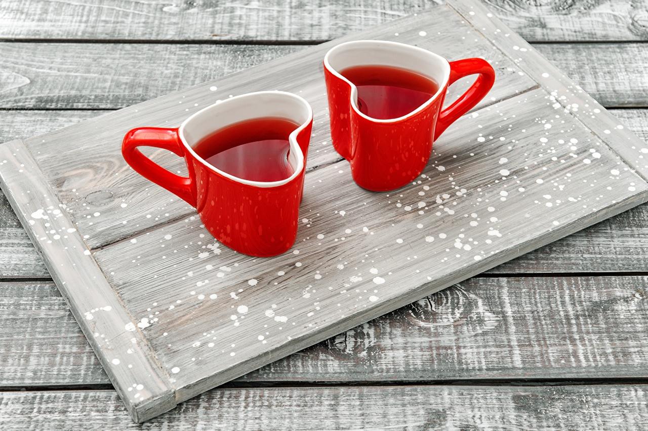 Fotos Herz Tablett Tee Rot Zwei Becher das Essen 2 Lebensmittel