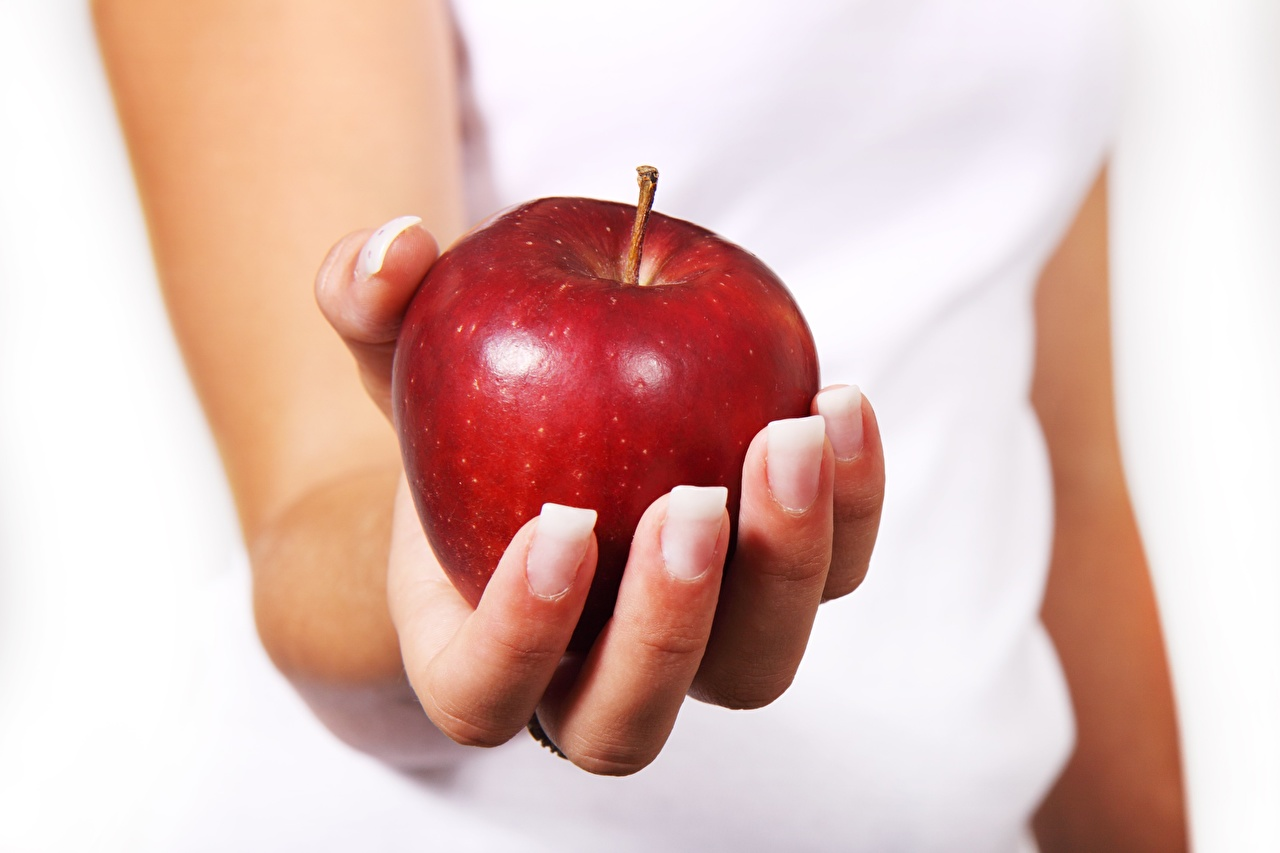Picture Apples Food Hands Fingers Closeup
