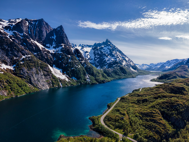 Bilder Lofoten Norwegen Natur Gebirge Schnee Straße Berg Wege