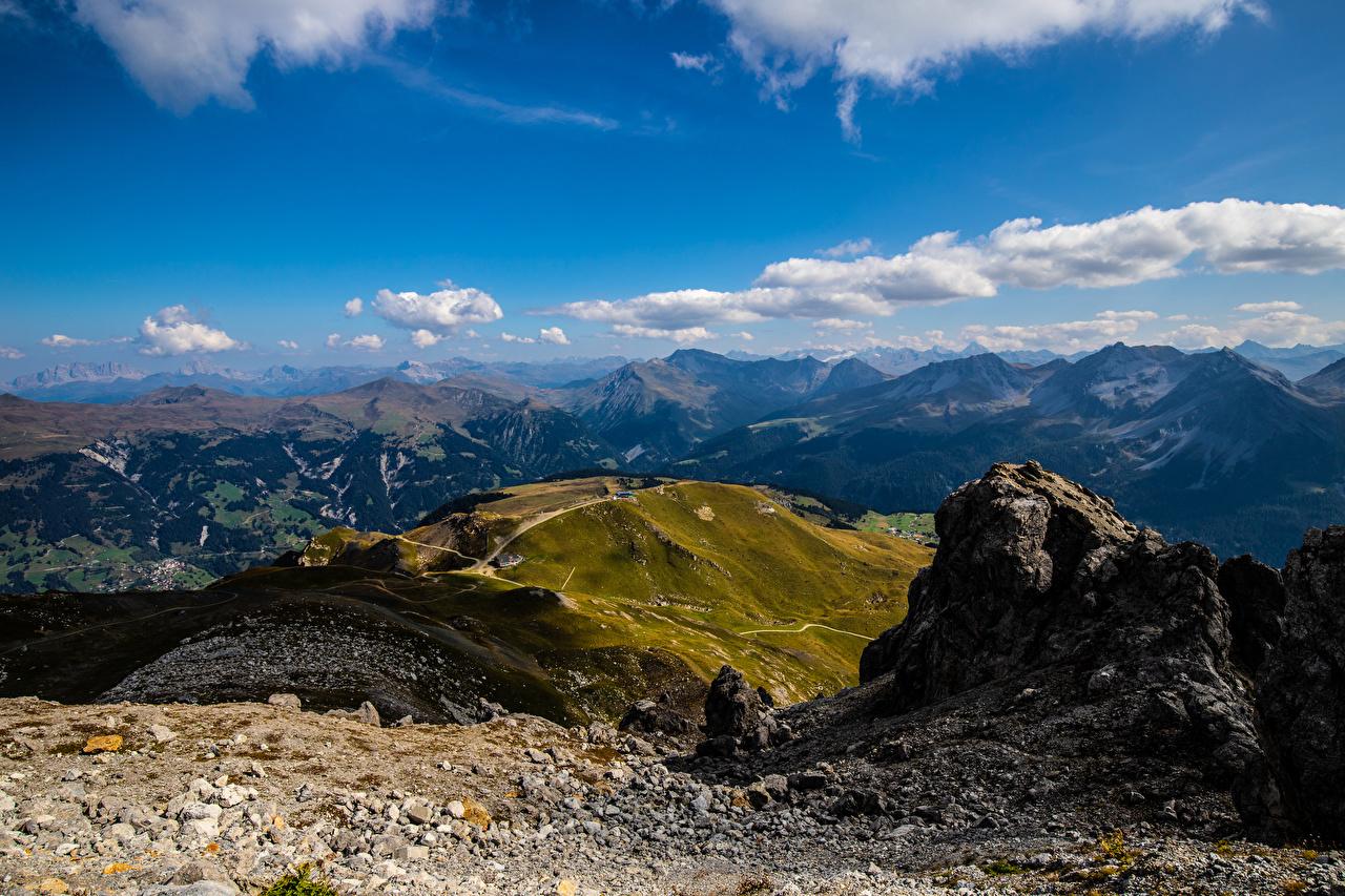 Фото альп Швейцария Graubünden гора Природа Небо Облака Альпы Горы облако облачно