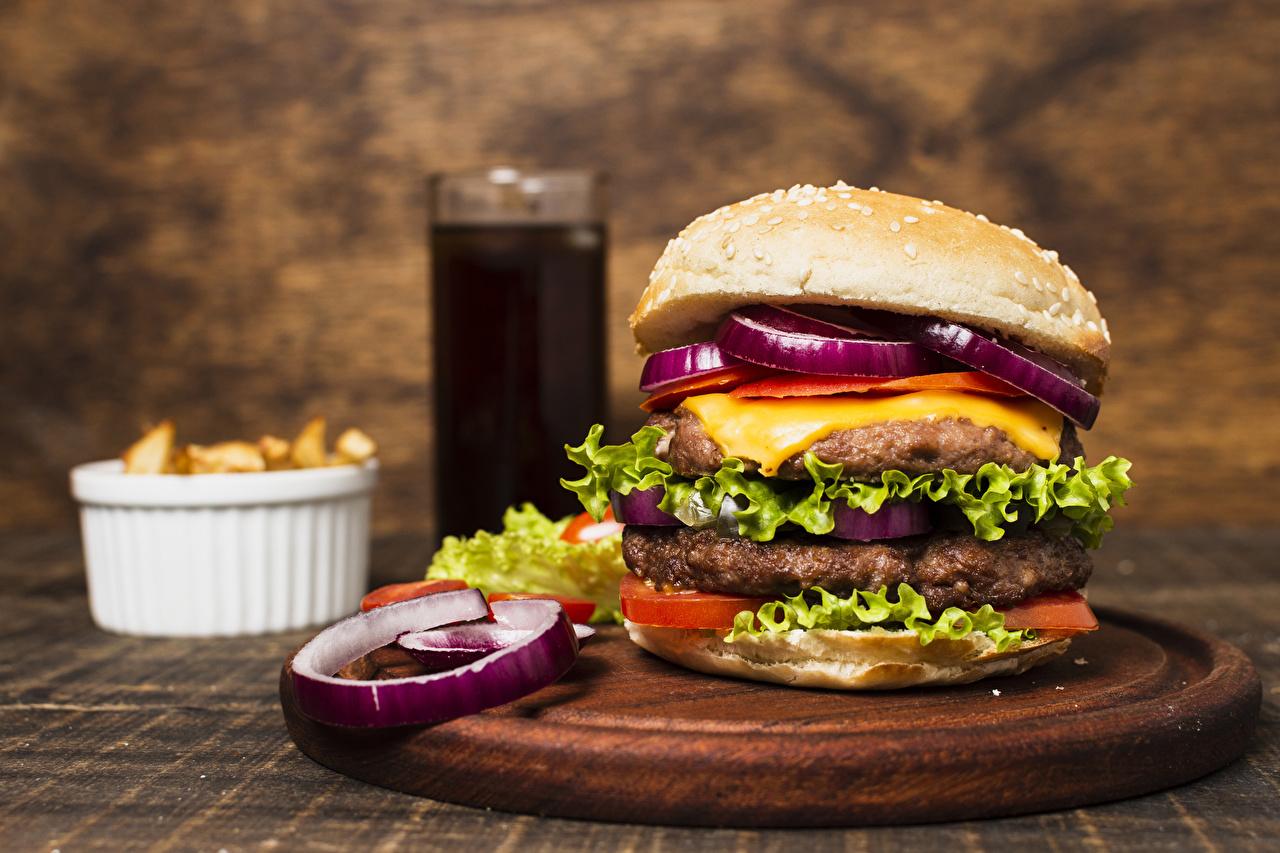 Picture Frikadeller Hamburger Fast food Food Vegetables Cutting board rissole meatballs