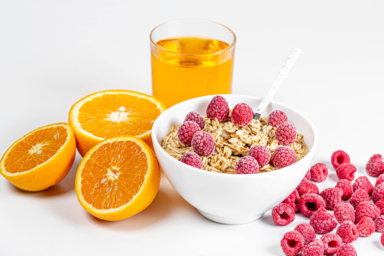 Picture Juice Orange fruit Bowl Raspberry Highball glass Food Muesli White background