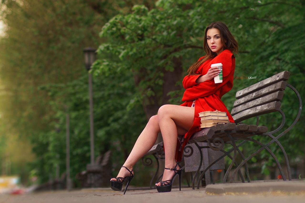 Picture Modelling Alexander Drobkov-Light, Alisa Skvortsova young woman Legs Bench Sitting Model Girls female sit