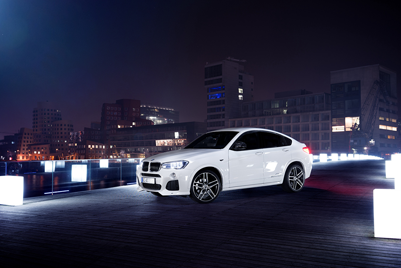 Pictures BMW 2015 AC Schnitzer ACS X4 White Cars night time auto Night automobile