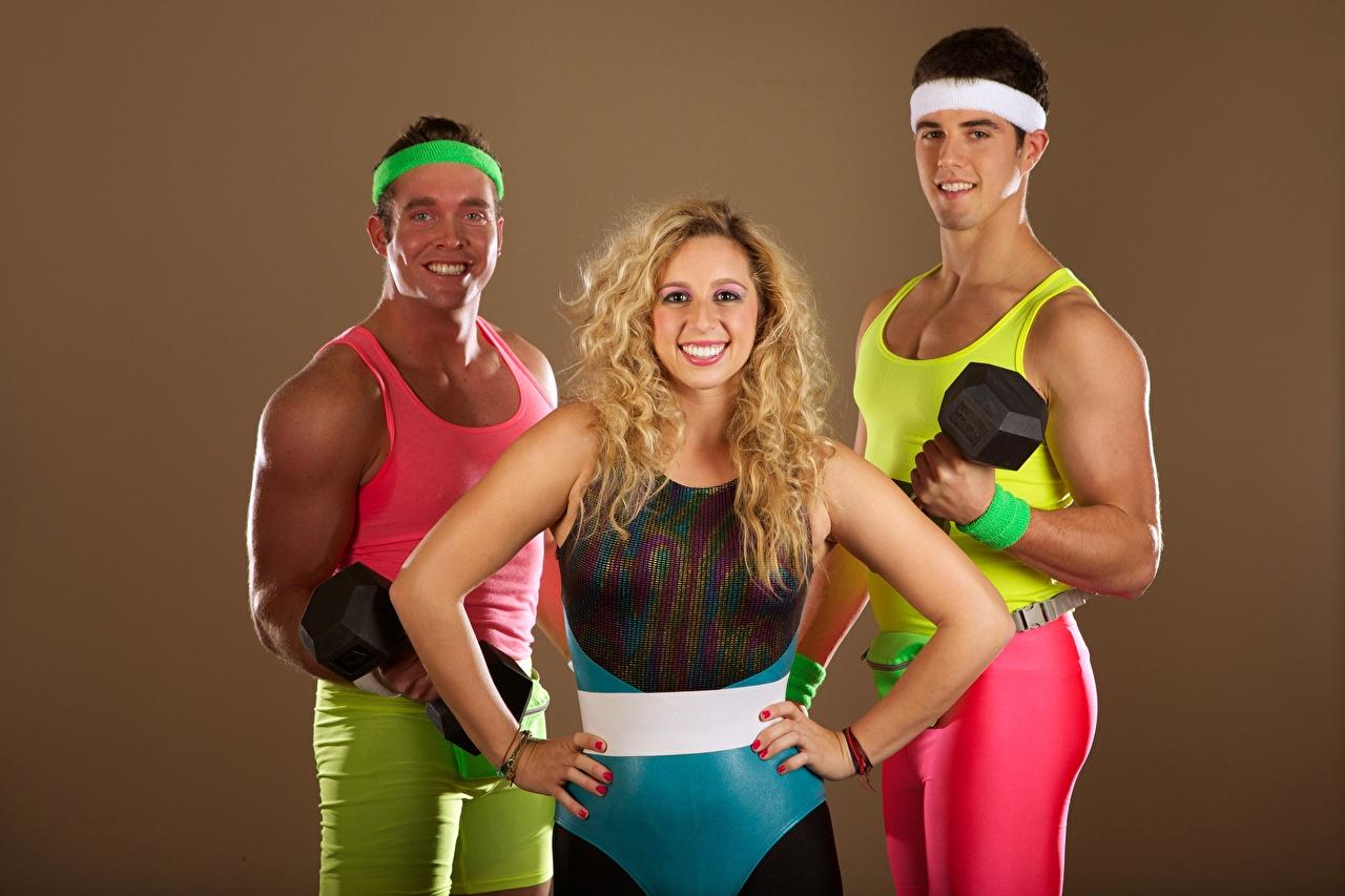 Pictures Blonde girl Men Smile Fitness Girls Sport Uniform Three 3 Man