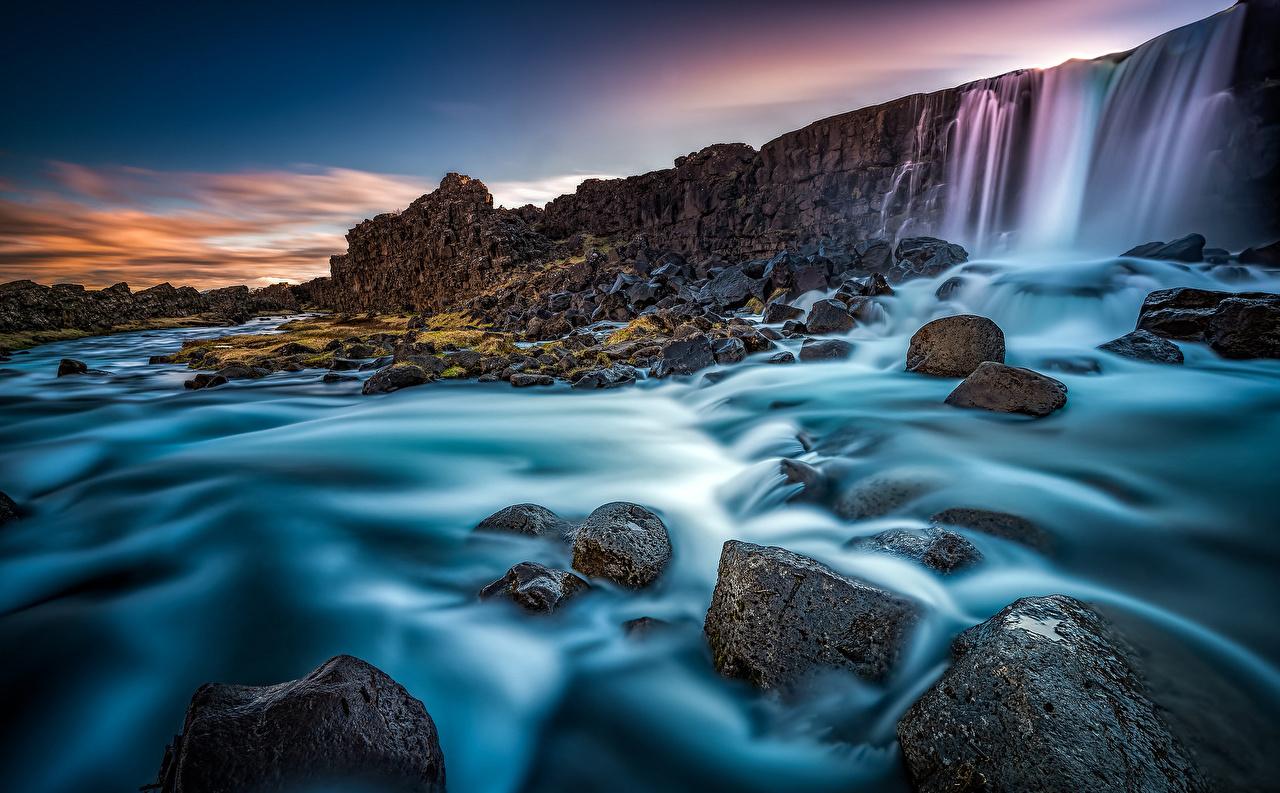 Sfondi Islanda Oxararfoss Oxara river Arnessysla Natura cascata fiume Pietre Cascate Fiumi