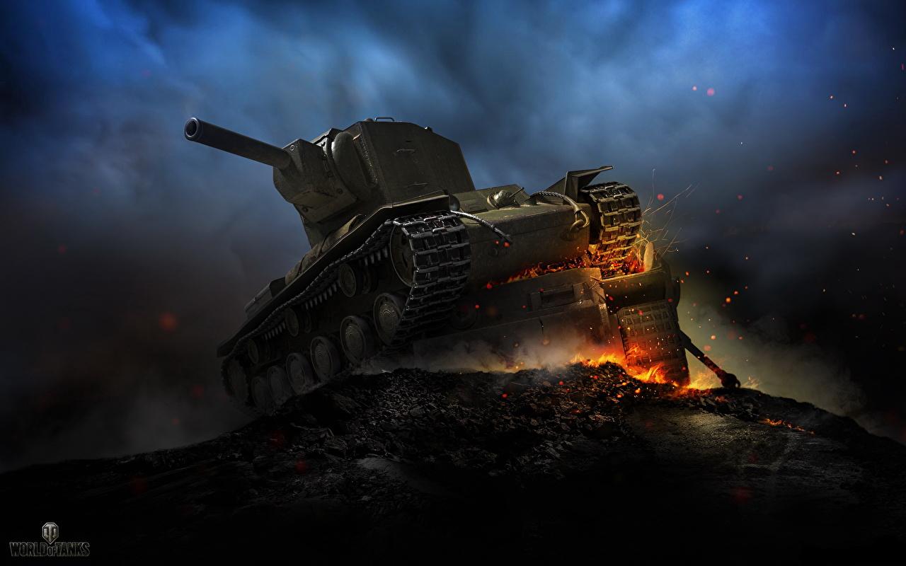 Bilder von WOT Panzer Russische KV-2 Spiele Nacht World of Tanks russisches russischer