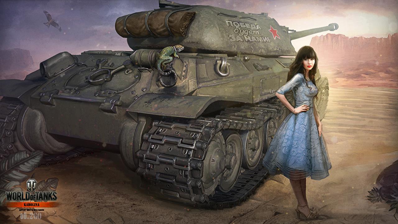 Wallpaper girl, brunette, tank, girl, America, tanks, WoT