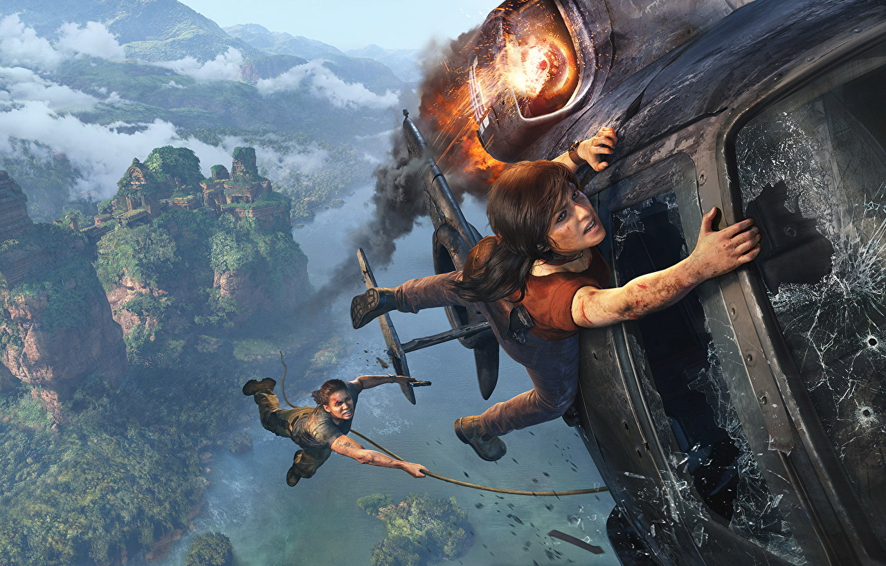Photos Uncharted: The Lost Legacy Helicopters Chloe Fraser, Nadine Ross Two Girls Disasters vdeo game helicopter 2 female young woman Games disaster