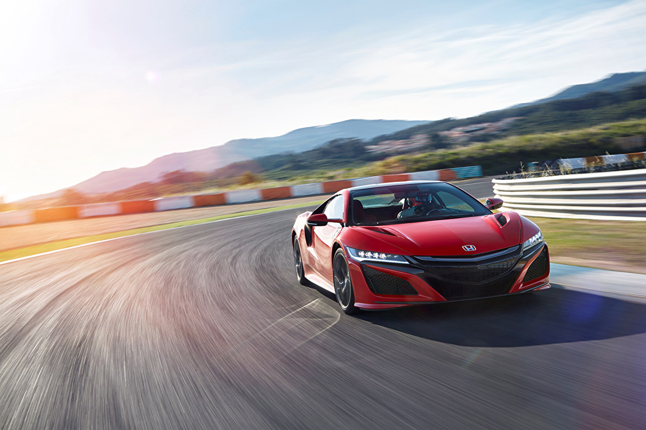 Photo Honda Acura NSX Red driving Cars moving riding Motion at speed auto automobile