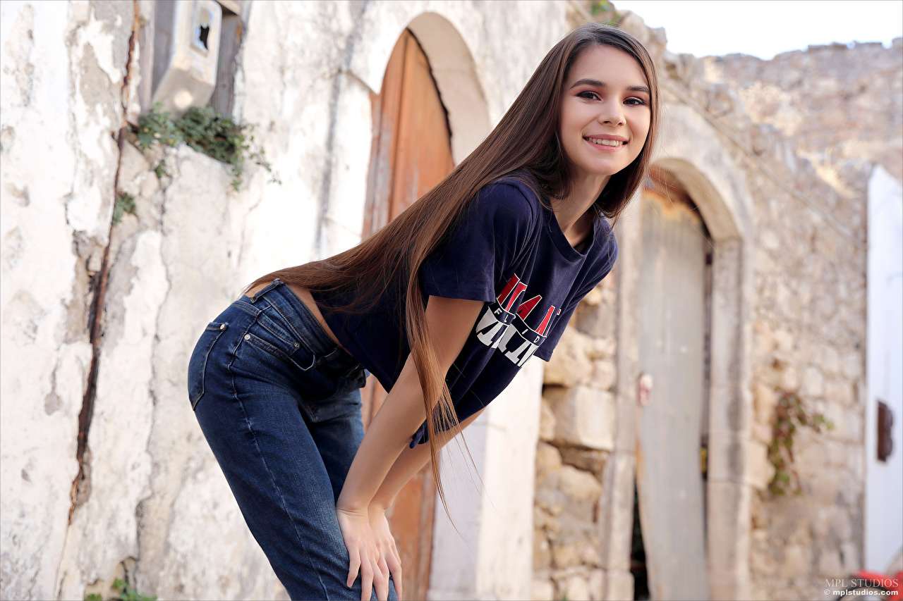 Picture Brown haired Smile Leona Mia posing lovely Girls T-shirt Jeans Pose Cute sweet pretty female young woman