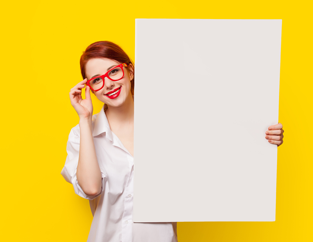 Desktop Wallpapers Redhead girl Sheet of paper Girls Hands eyeglasses Template greeting card Glance Red lips Colored background female young woman Glasses Staring