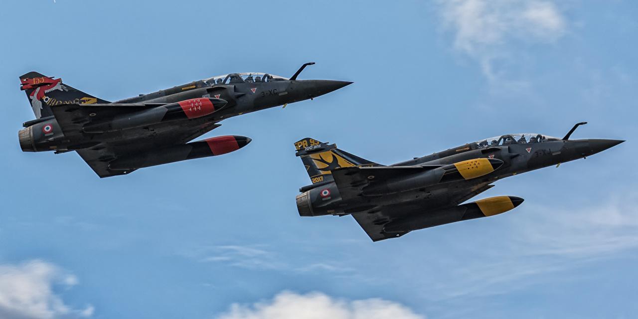 Desktop Wallpapers Fighter Airplane Airplane Dassault Mirage 2000D 602 2 Aviation Fighter aircraft Two