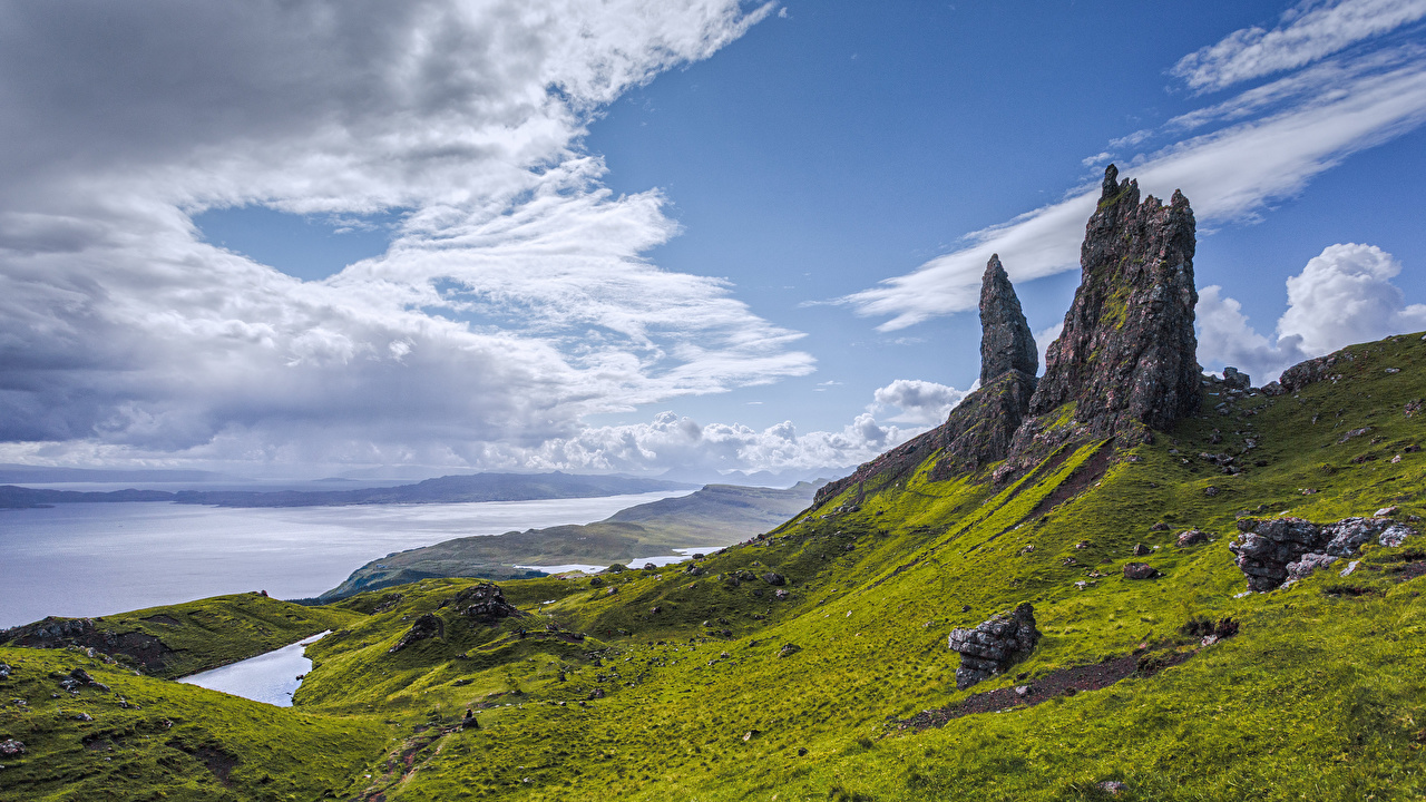 Desktop Wallpapers Scotland Isle of Skye Cliff Nature mountain Coast Clouds Rock Crag Mountains