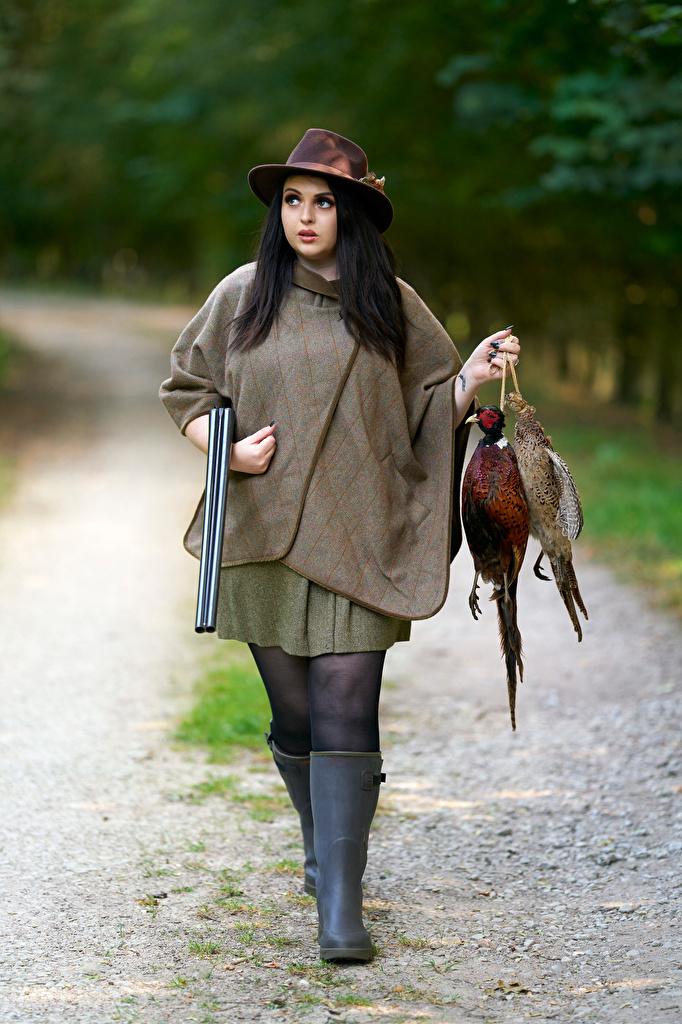 Fotos Vogel Flinte Brünette Jagd Der Hut Mädchens  für Handy Vögel junge frau junge Frauen
