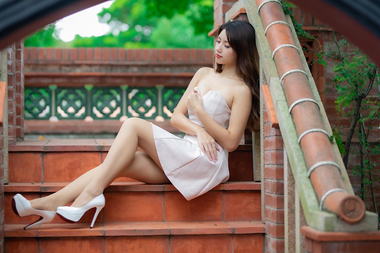 Wallpaper young woman Legs Asiatic Sitting frock high heels Girls female Asian sit gown Dress Stilettos