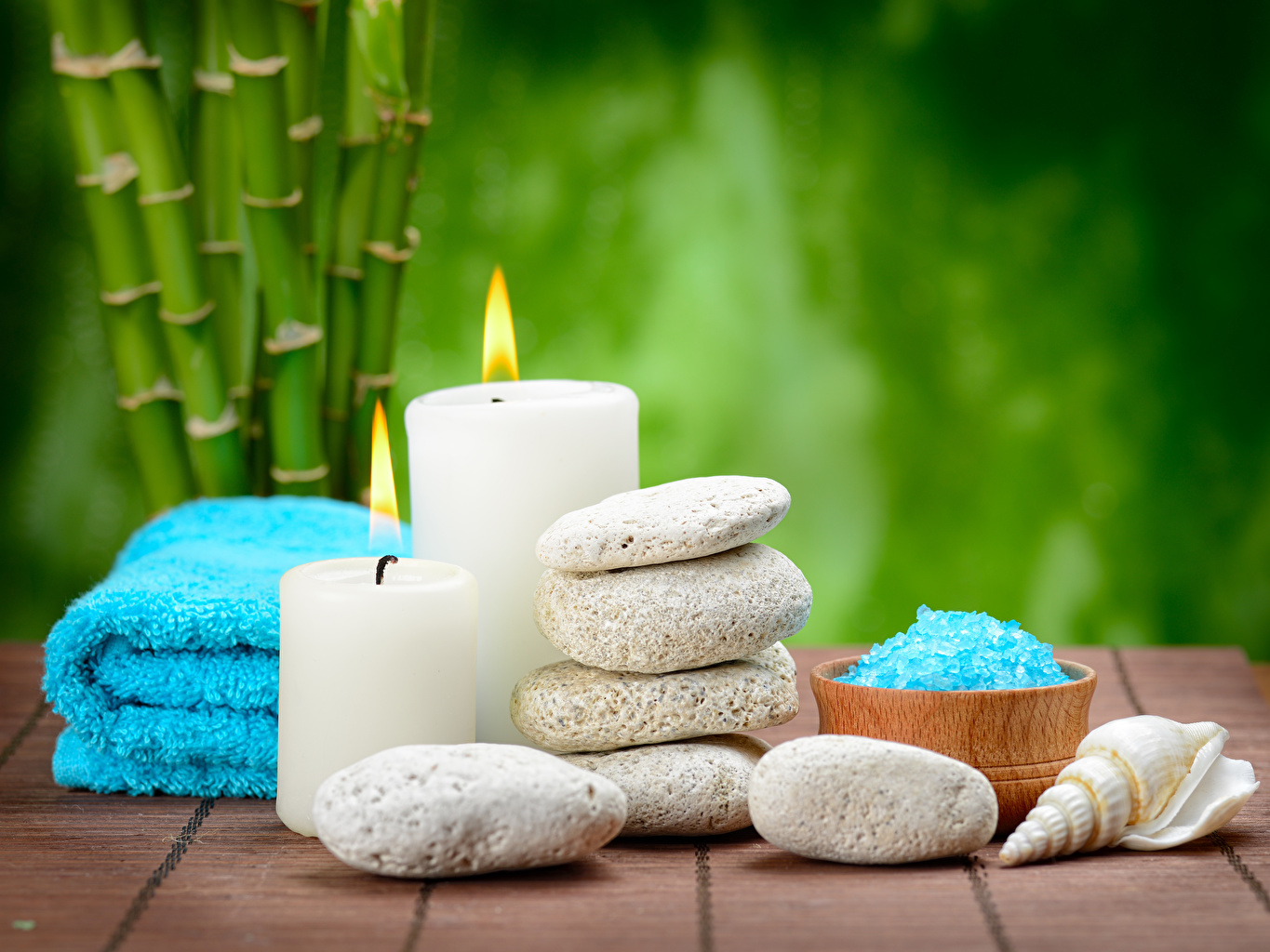Images Spa Salt flame Shells stone Candles Fire Stones