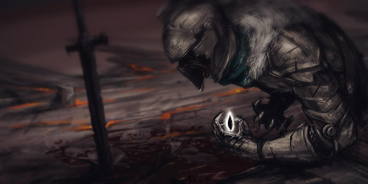 Wallpaper Fantasy Dark Souls Swords Knight Helmet Vdeo Game Fan Art