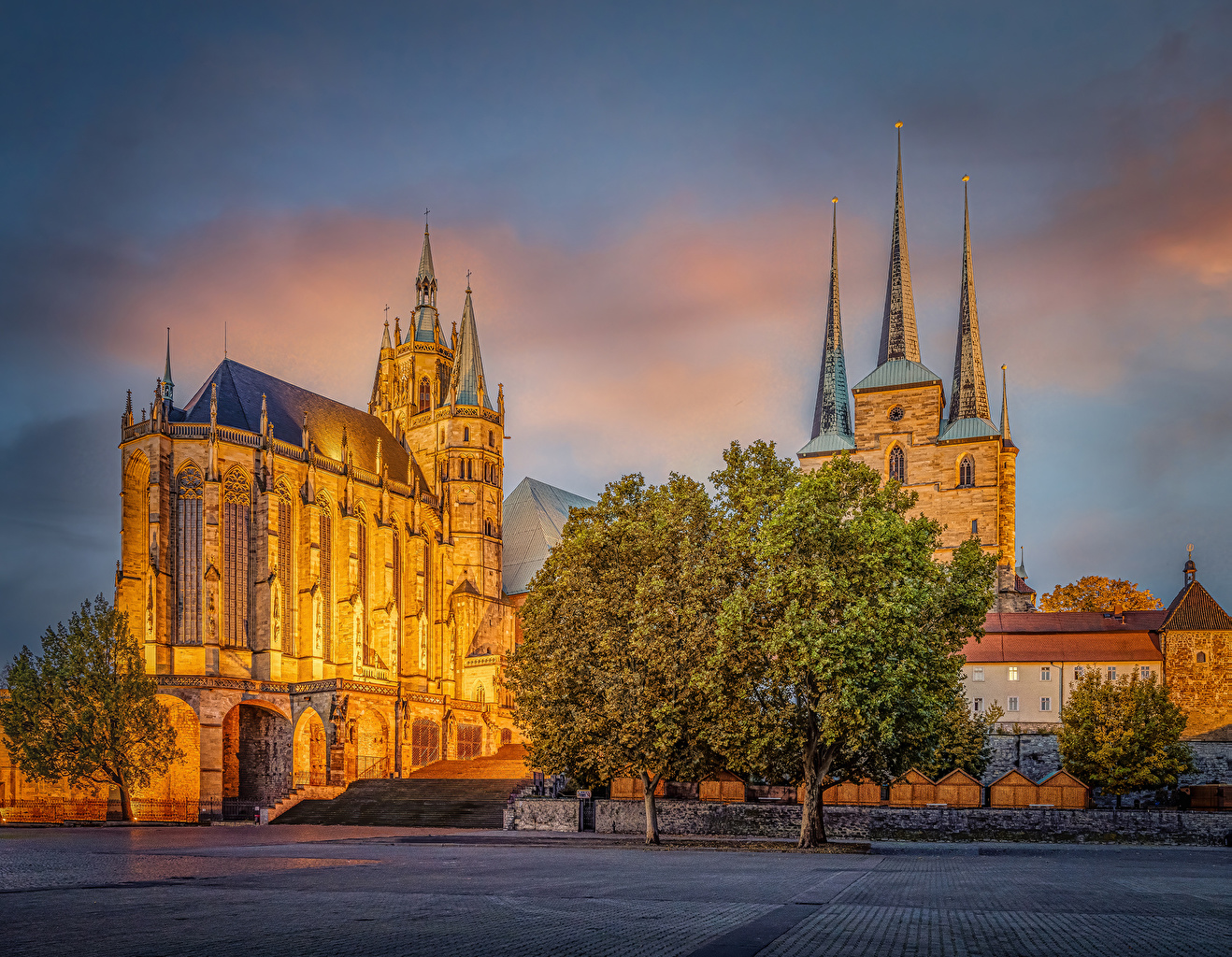 Pictures Church Germany Erfurt Cathedral Temples Evening Trees Cities temple