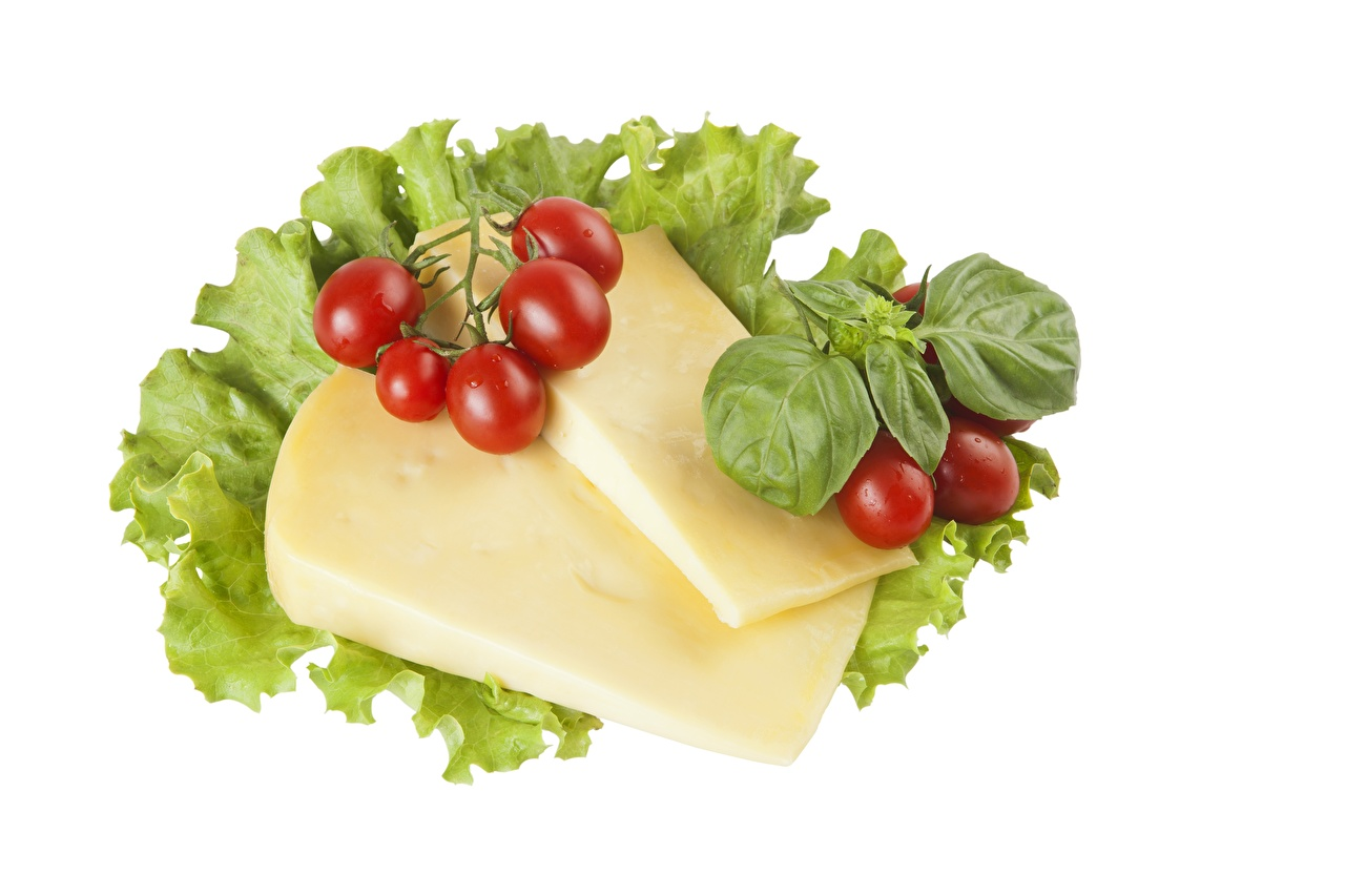 Pictures Foliage Tomatoes Cheese Food White background Leaf