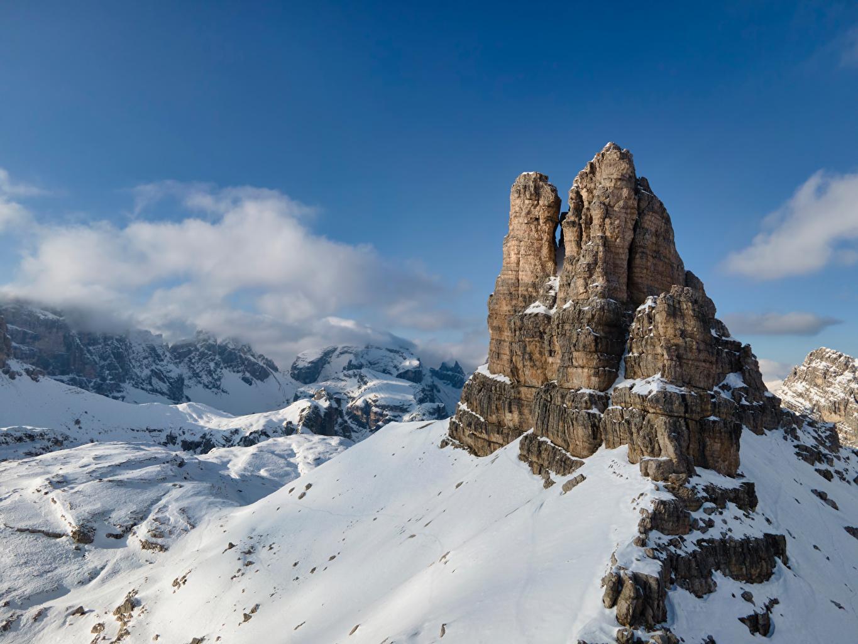 Bilder Alpen Italien Dolomites Natur Felsen Gebirge Schnee Berg